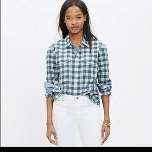 Madewell small blue& white gingham shirt